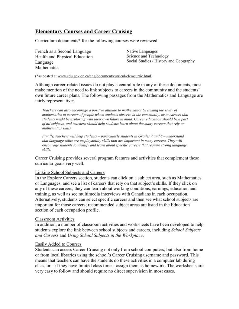 Worksheets Employability Skills Worksheets elementary curriculum and career cruising