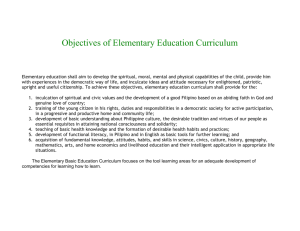 Objectives of Elementary Education Curriculum