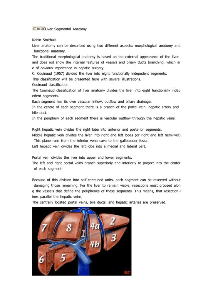 Liver Segmental Anatomy Robin Smithuis Liver Anatomy Can Be