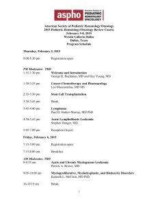 Schedule - The American Society of Pediatric Hematology/Oncology
