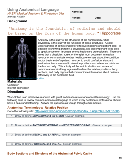 Using Anatomical Language HASPI Medical Anatomy & Physiology