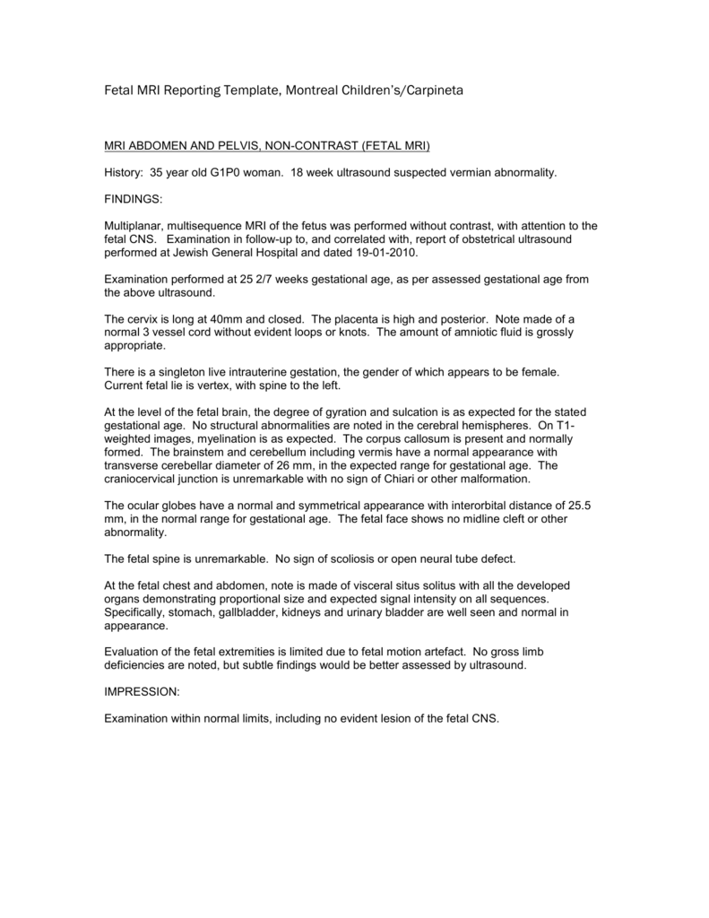 Fetal MRI Reporting Template ,Montreal Children`s/Carpineta