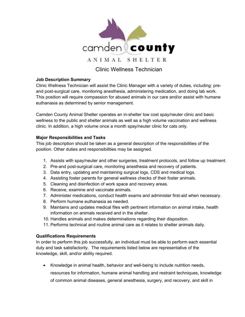 Surgery/Wellness Tech - Camden County Animal Shelter