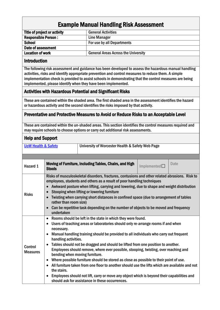 General Manual Handling Risk Assessment