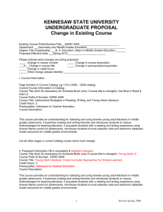 EDRD 4409 Change in Course - Kennesaw State University