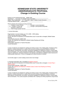 EDRD 3330 Change in Course