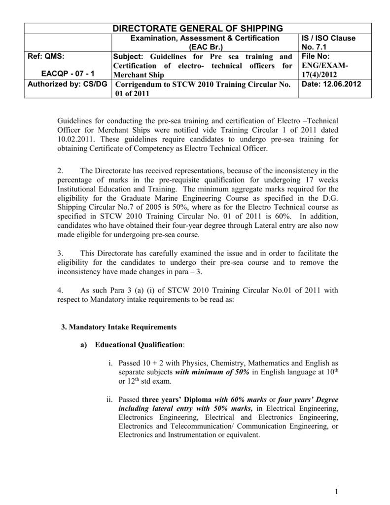 Training Circular No 1 Of 2011 Directorate General Of Shipping