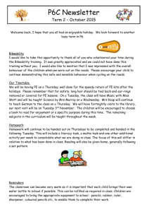 MRS LORIMER Term two Newsletter P6C