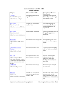 Characteristics of Life Data Table