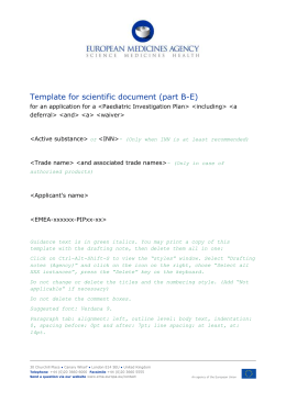 Template for Scientific Document (Part B-E)
