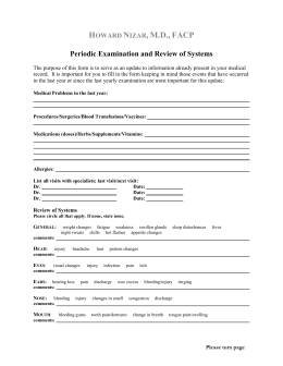 Periodic Examination Questionaire Sheet