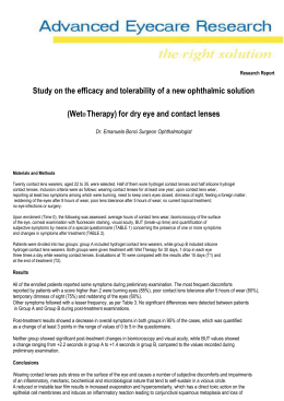 Study on the efficacy and tolerability of a new ophthalmic solution