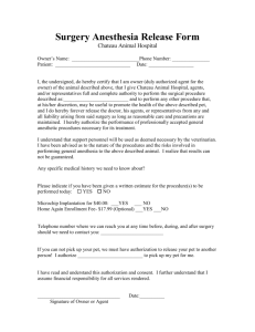 Surgery Anesthesia Release Form