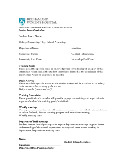 Student Intern Curriculum