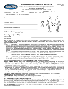 WR111 Skin Condition Form  - Kentucky High School Athletic