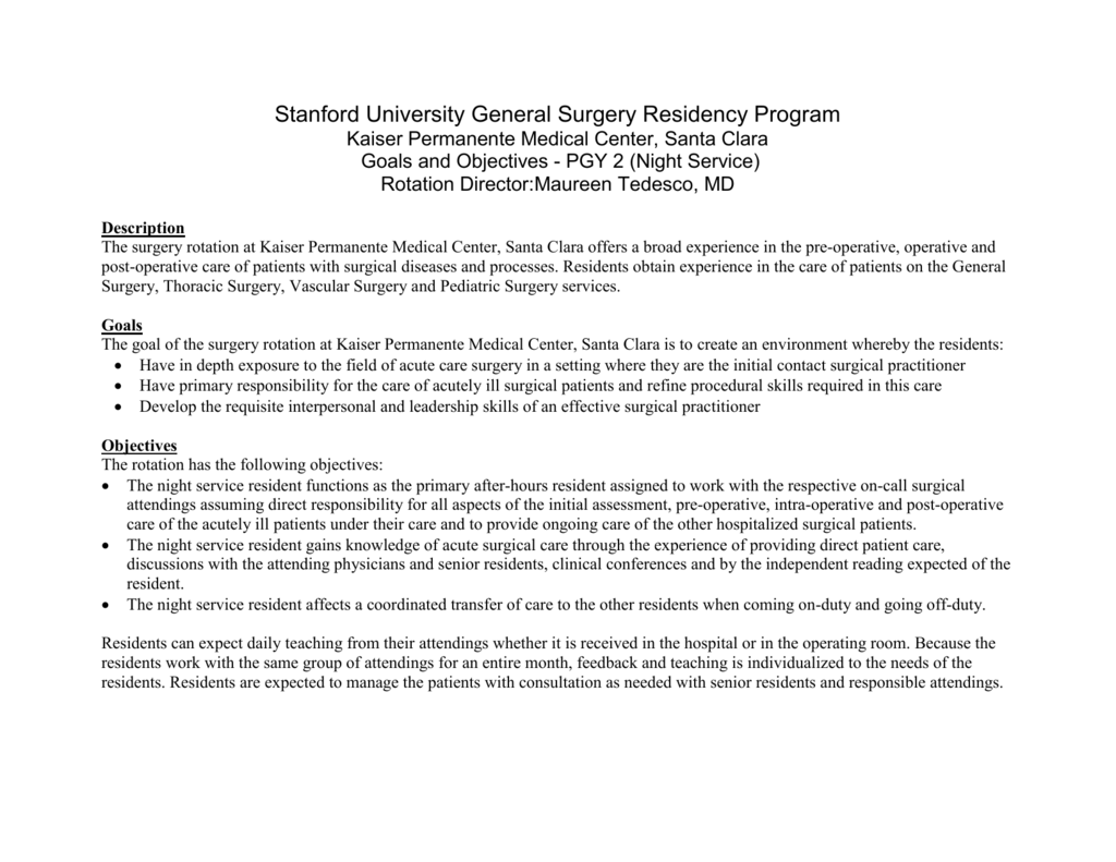 Stanford University General Surgery Residency Program