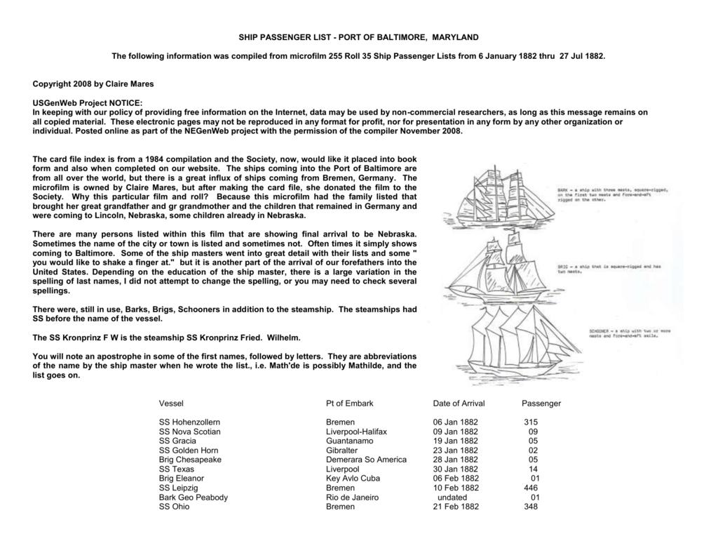 ship passenger list - port of baltimore maryland
