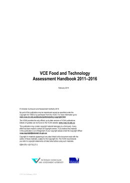 VCE Food and Technology Assessment Handbook 2011-2016