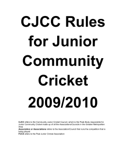 CJCC Rules for Junior Community Cricket