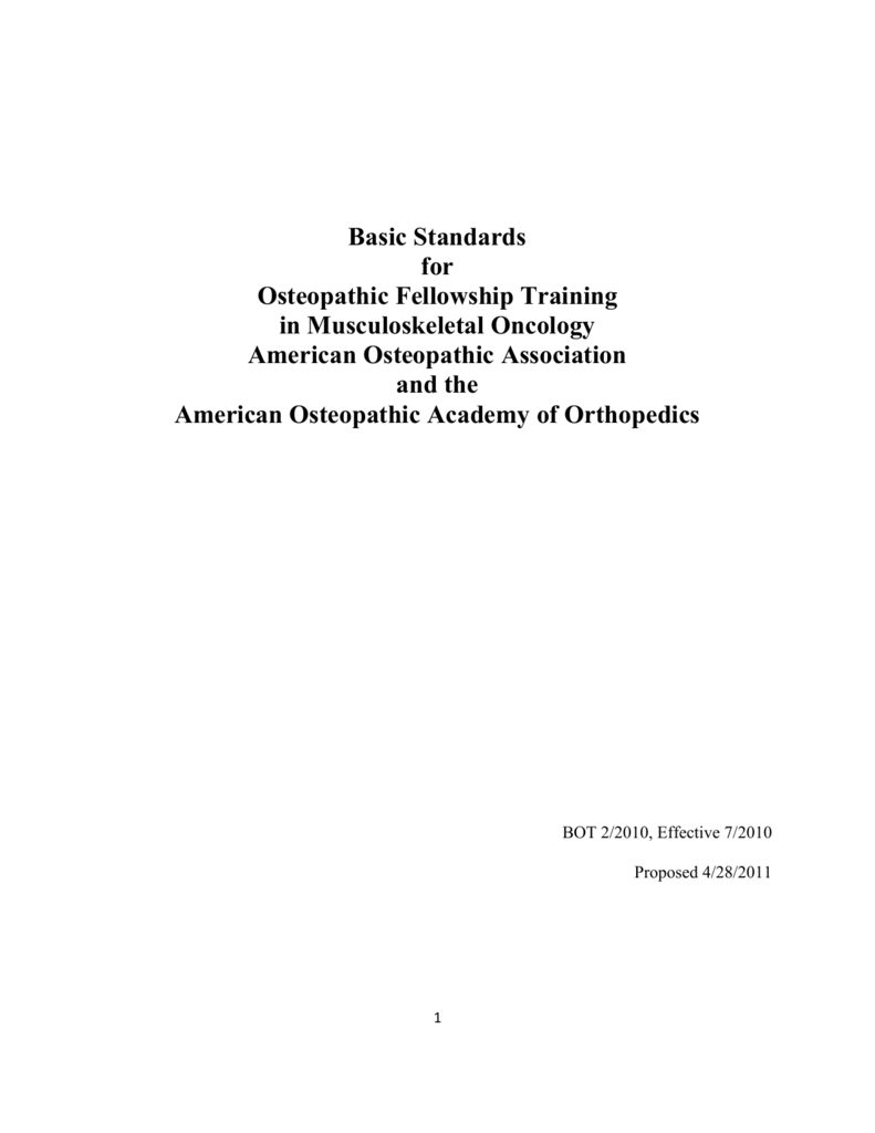 Basic Standards for Osteopathic Fellowship Training in