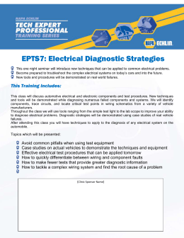Electrical Diagnostic Strategies