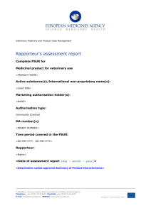 PSUR Assessment Report template for use by the European