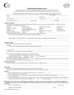 Form 511E: Medical Information for Excursions