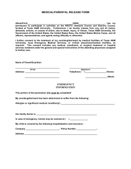 MEDICAL/PARENTAL RELEASE FORM FOR