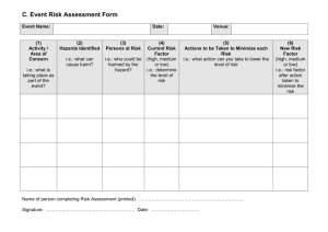 C. Event Risk Assessment Form