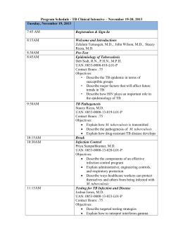Program Schedule - Mayo Clinic Center for Tuberculosis