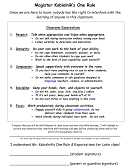Classroom Expectations and Consequences for Mr
