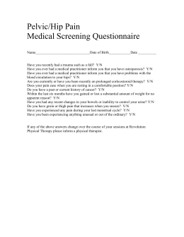 Pelvic/Hip Pain Medical Screening Questionaire