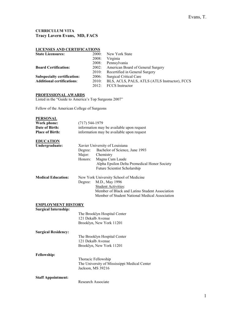 Curriculum Vitae Lancaster General