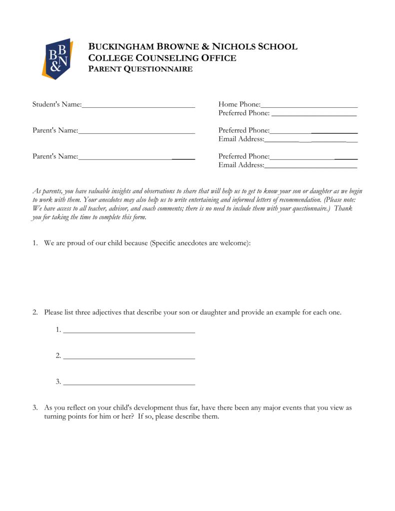 Junior parent questionnaire buckingham browne nichols spiritdancerdesigns Choice Image
