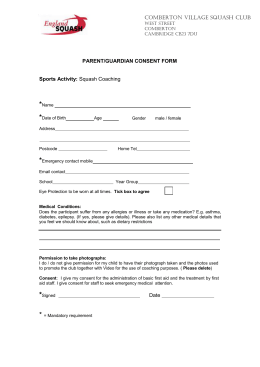 Microsoft Word - Junior Squash PARENT CONSENT FORM
