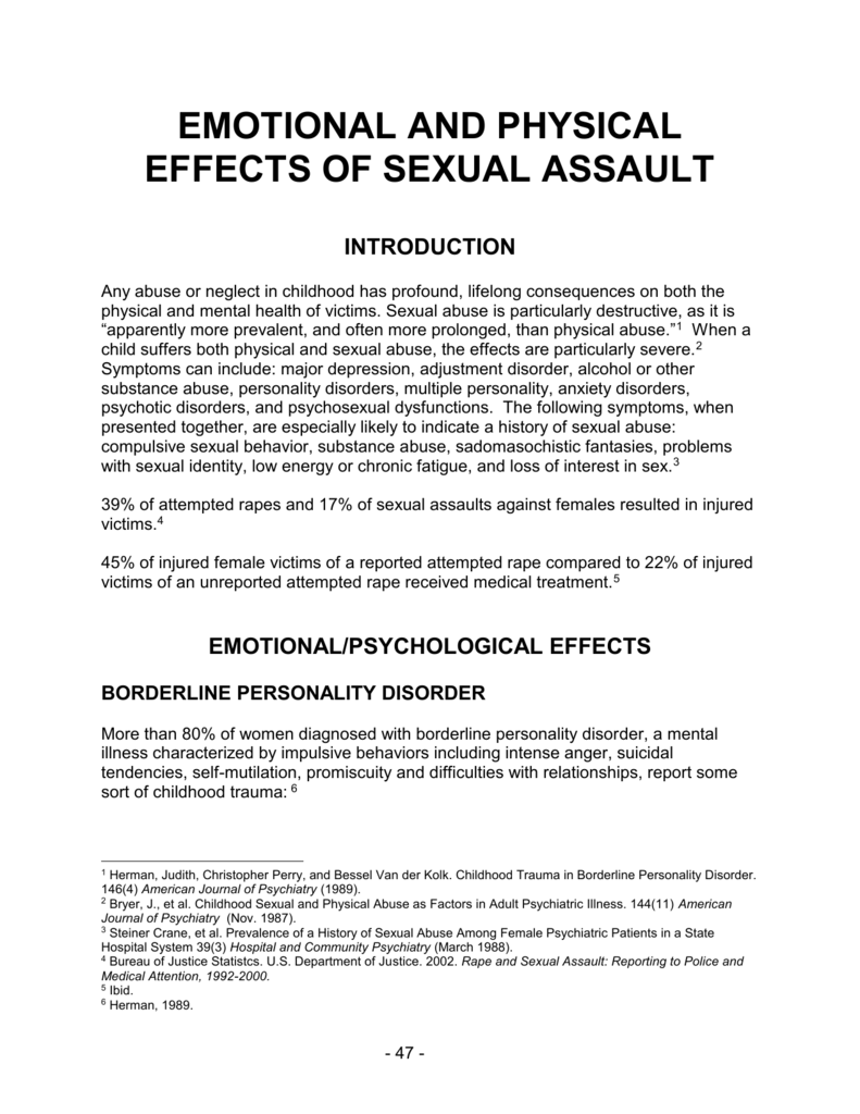 Emotional and Physical Effects of Sexual Assault chapter from
