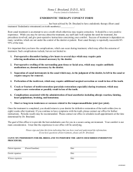 endodontic therapy/endodontic consent form