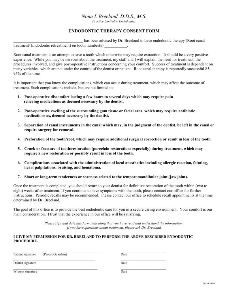 endodontic therapy/endodontic consent form