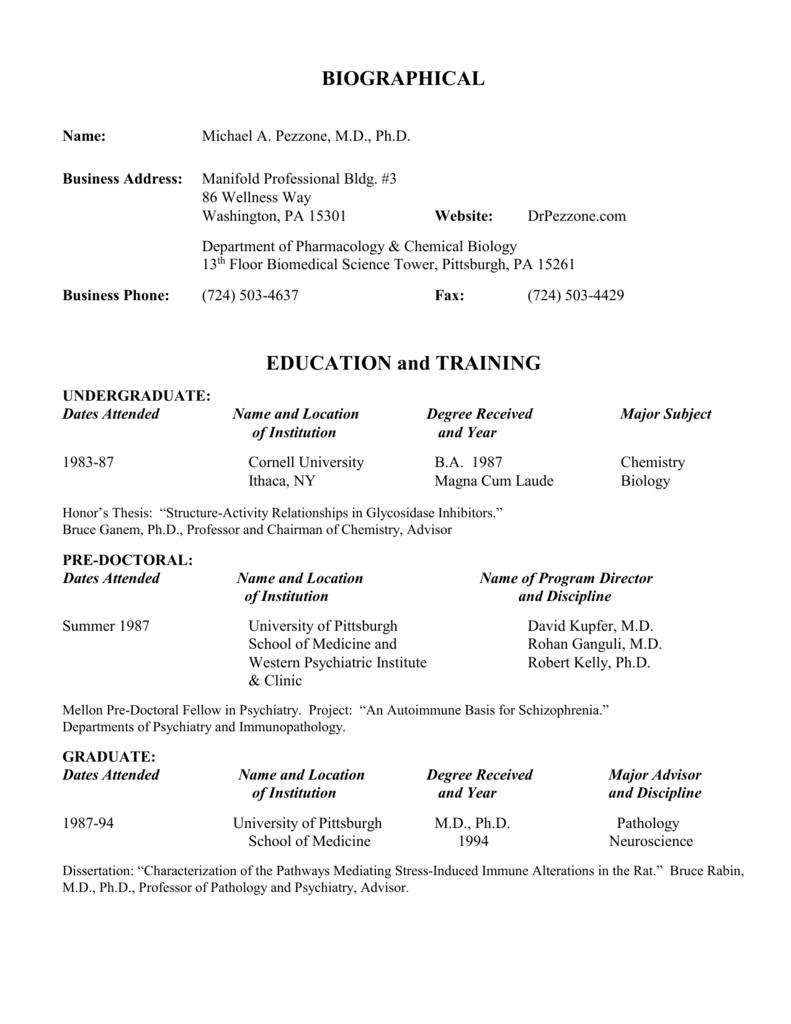 Dr  Pezzone`s CV - Pezzone Gastroenterology