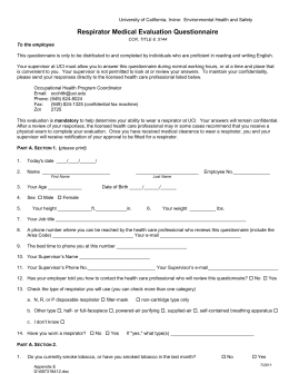 Respirator Medical Evaluation Questionnaire