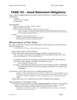 FASB 143 – Asset Retirement Obligations