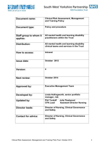 Clinical Risk Assessment, Management and Training Policy