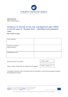 Guidance on format of the RMP in the EU part II