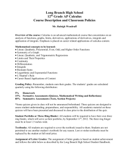 Course Description and Classroom Policies