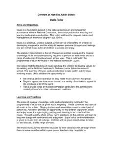 Music policy - Dereham St. Nicholas Junior School