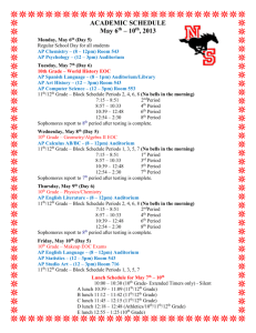 10th Grade District Assessment Schedule