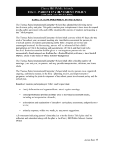 Parent Involvement Policy - Thomas Paine School