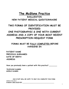 NEW PATIENT MEDICAL QUESTIONAIRE