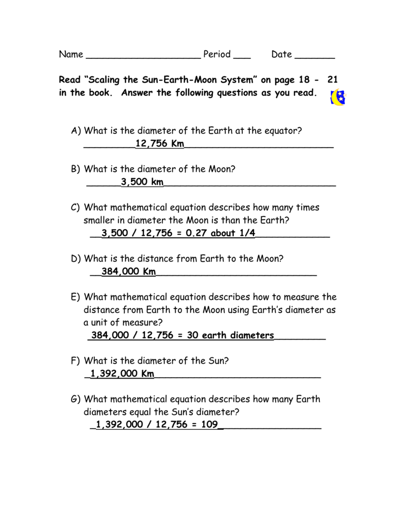 Scaling The Earth Sun And Moon Answer Key