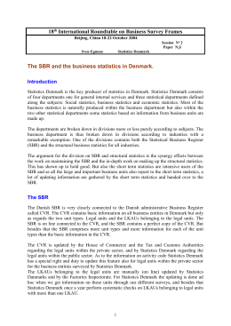 The SBR and the business statistics in Denmark.